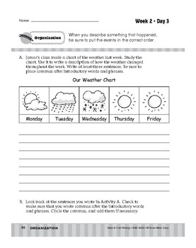 Daily 6-Trait Writing BUNDLE, Grade 3, Unit 2 ORGANIZATION, Weeks 1-5