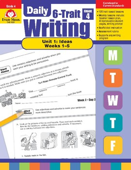 Daily 6-Trait Writing BUNDLE, Grade 4, Unit 1 IDEAS, Weeks 1-5