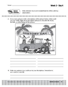 Daily 6-Trait Writing BUNDLE, Grade 5, Unit 3 WORD CHOICE, Weeks 1-5