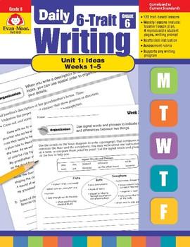 Daily 6-Trait Writing BUNDLE, Grade 6, Unit 1 IDEAS, Weeks 1-5