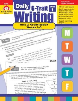 Daily 6-Trait Writing BUNDLE, Grade 7, Unit 2 ORGANIZATION, Weeks 1-5