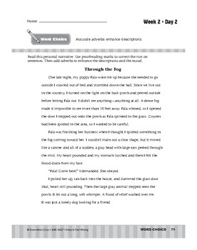 Daily 6-Trait Writing BUNDLE, Grade 7, Unit 3 WORD CHOICE, Weeks 1-5