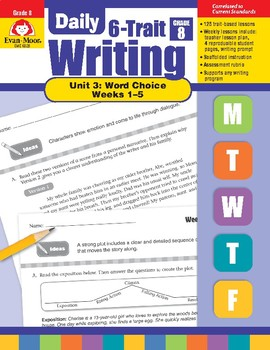 Daily 6-Trait Writing BUNDLE, Grade 8, Unit 3 WORD CHOICE, Weeks 1-5