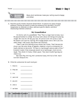 Daily 6-Trait Writing BUNDLE, Grade 8, Unit 4 SENTENCE FLUENCY, Weeks 1-5