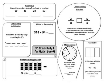 Morning Work / Warm-Ups - Daily 7 Math Essentials for 3rd Grade - 3rd 9 Weeks