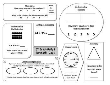 Morning Work / Warm-Ups - Daily 7 Math Essentials for 3rd Grade - Week 1