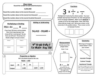 Morning Work / Warm-Ups - Daily 7 Math Essentials for 4th Grade - 4th 9 Weeks
