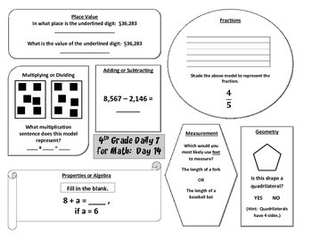 Morning Work / Warm-Ups - Daily 7 Math Essentials for 4th Grade - 1st 9 Weeks