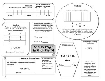 Morning Work / Warm-Ups - Daily 7 Math Essentials for 5th Grade - 4th 9 Weeks