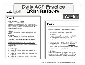 Daily ACT English Test Practice (Week 1)