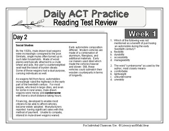 Daily ACT Reading Test Practice (Week 1)