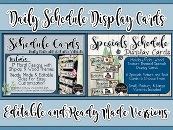 Daily AND Specials Schedule Display Cards- BUNDLE!