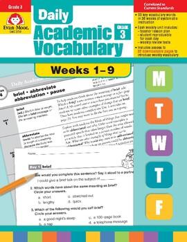 Daily Academic Vocabulary, Grade 3, Weeks 1–9