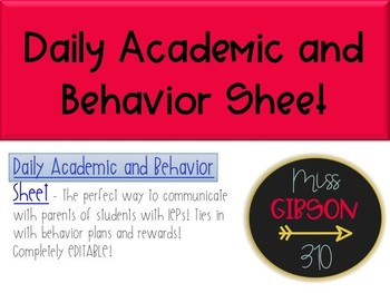Daily Academic and Behavior Sheet