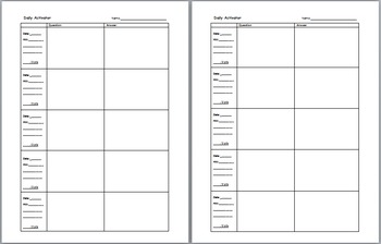 Daily Activator or Bell Ringer sheet, Assignment and Work Log, Table of Contents