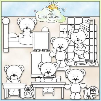 Daily Activities Bears - CU Clip Art & B&W Set