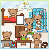 Daily Activities Bears - CU Clip Art & B&W Set