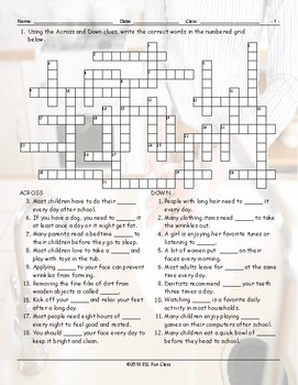 Daily Activities Crossword Puzzle