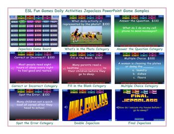 Daily Activities Jeopardy PowerPoint Game Slideshow