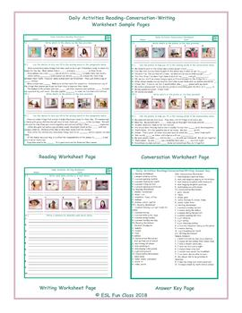 Daily Activities Reading-Conversation-Writing Worksheets