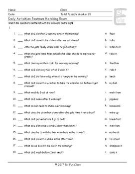 Daily Activities-Routines Matching Exam