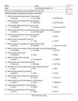Daily Activities-Routines Multiple Choice Exam