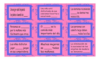 Daily Activities Spanish Card Game