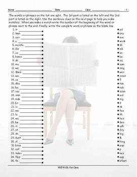 Daily Activities Word Links Worksheet
