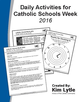 Daily Activities for Catholic Schools Week 2016