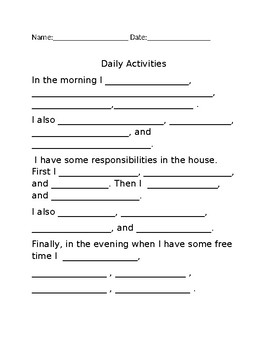 Daily Activities writing composition