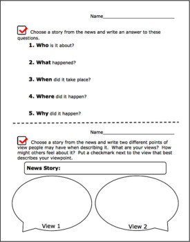 Daily Activity Sheets for Channel One News and CNN Student News