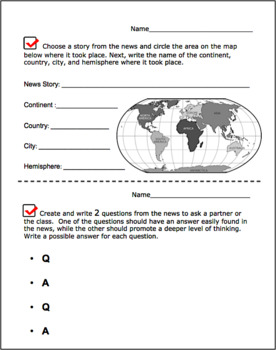 Daily Activity Sheets for CNN 10 News & Channel One News, Common Core Skills