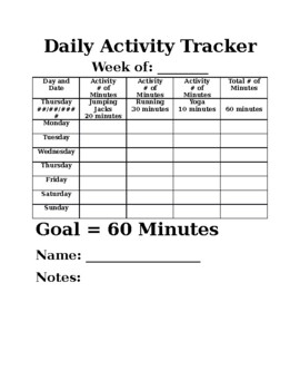 daily activity tracker by admin dabblin teachers pay teachers
