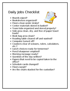 Daily Afternoon Jobs