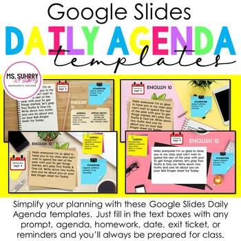 Daily Agenda / Bell Ringer / Morning Message Google Slides Templates