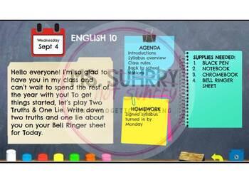 Daily Agenda / Bell Ringer / Morning Message Google Slides Templates -Chalkboard