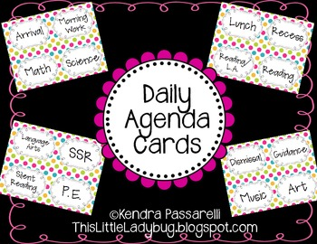 Daily Agenda Cards {Multi Colored Polka Dot}