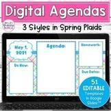 Daily Agenda Digital Templates - Spring | Editable Google Slides