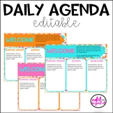 Daily Agenda Editable Template - Confetti - Orange, Pink, and Turquoise