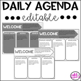 Daily Agenda Editable Template - Gray, Black, and White