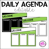 Daily Agenda Editable Template - Lime Green, Black, and White