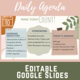 Daily Agenda Google Slides Plant Lady Theme