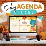 Daily Agenda Google™ Slides & PowerPoint - Editable - FALL