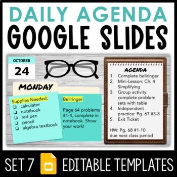 Daily Agenda Google Slides Set 7 Distance Learning By Sassy In Middle