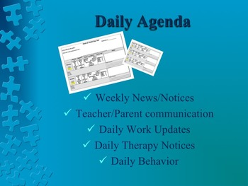 Daily Agenda Parent Communication for Low Incidence/Autism