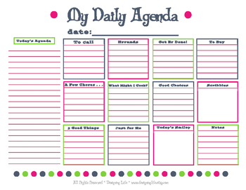 Daily Agenda Planning Resource - Teachers and Parents