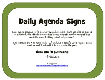 Daily Agenda/ Schedule Signs for Pocket Charts