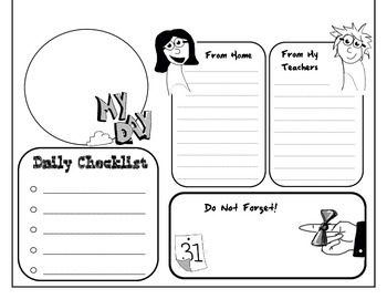 Daily Agenda Sheet- For the Disorganized Child Parent Teacher Communication