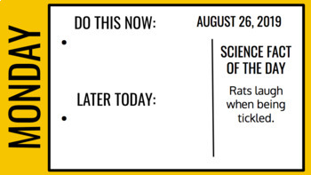 Daily Agenda Slide Template   WITH SCIENCE FACTS OF THE DAY!   Fall 2019