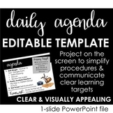 Daily Agenda Template - Communicate clear learning goals & simplify procedures!